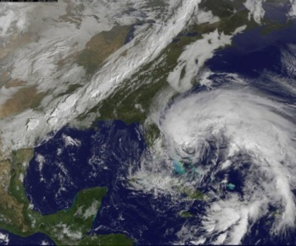 A view of Hurricane Sandy from a NASA satellite from earlier Friday, Oct. 26.