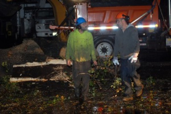 Workers chop apart in tree in Bristol Monday night.