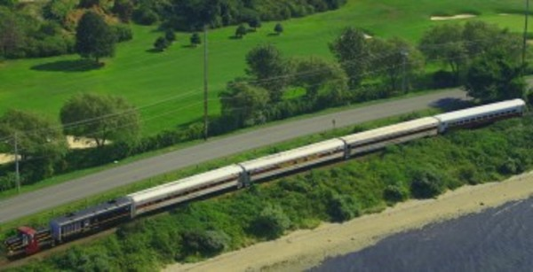 The Newport Dinner Train rolls along Aquidneck Island's west shore. (Newport Dinner Train photo)