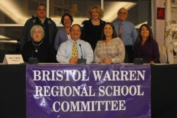 Members of the Bristol Warren School Committee posed for a photo after taking their oath on Tuesday night.