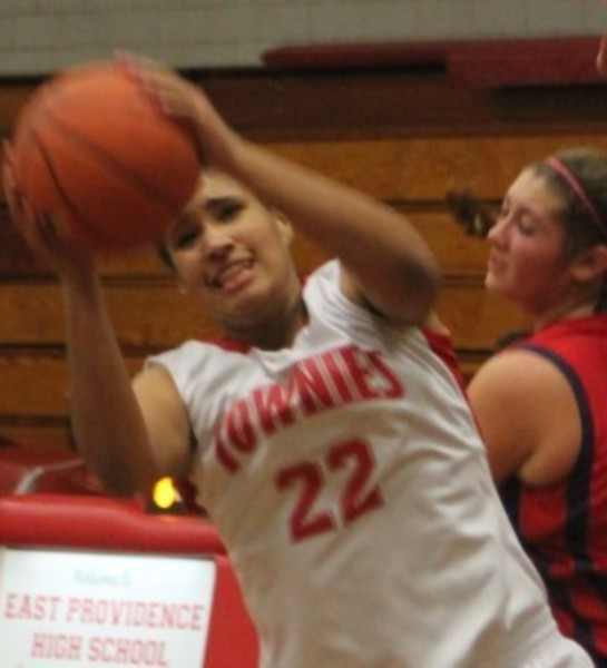 East Providence's Taylor Wiggins grabbed 16 rebounds and scored 19 points in loss to Johnston, Dec. 18.