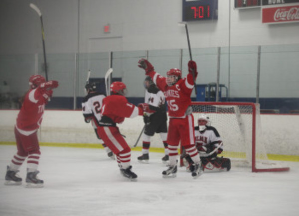East Providence High School's Kevin Hall celebrates a goal during the Townies' 3-2 win over Tolman, Jan. 26.