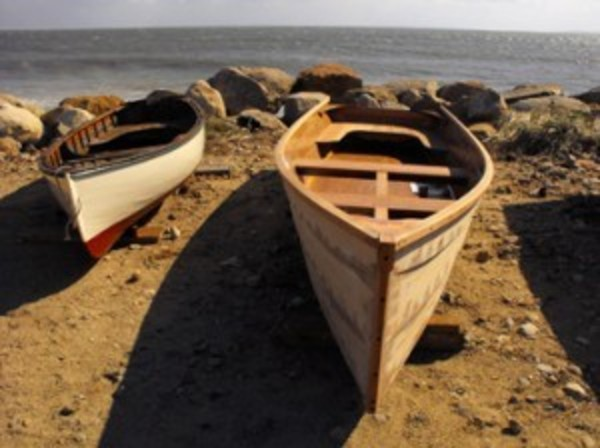 Boats on the beach by the Westport Fishermen's Associaton Horseneck Lifesaving Station.