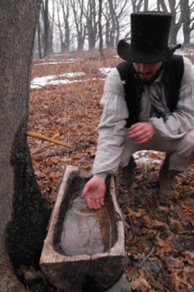 Clark Andrew of Coggeshall Farm dips his hand into maple sap that will be boiled down until it becomes sugar.