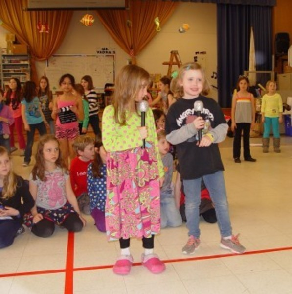 "Sowams School students rehearse for an upcoming performance of ""The Musical Adventures of Flat Stanley, Jr."""