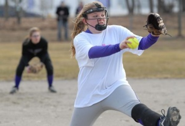 Mt Hope pitcher Maddie Reis winds up for a pitch during a scrimmage against Tolman at Slater Park in Pawtucket last Tuesday.