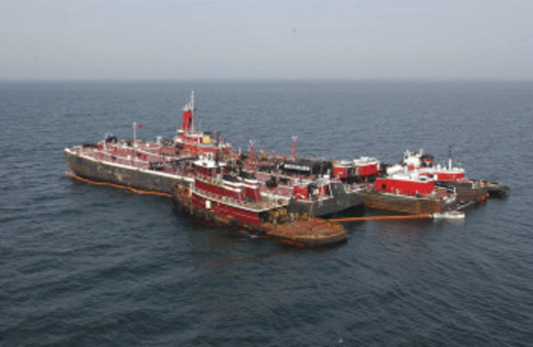 On April 27, 2003, Bouchard Barge No. 120 grounded at the entrance to Buzzard Bay in southern Massachusetts. The barge discharged approximately 2,333 barrels (98,000 gallons) of heavy number 6 fuel. NOAA photo.