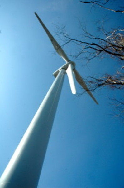 The wind turbine near the high school has been idle since June 2012.