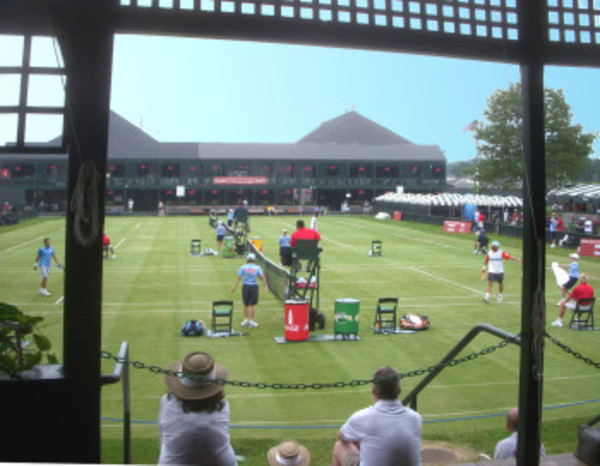 "View of the 2012 Hall of Fame Tournament from the ""Horseshoe Piazza"" porch at the Tennis Hall of fame in Newport."