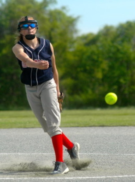 Emma Campbell delivers against St. Teresa Friday afternoon at Portsmouth Middle School. The home team won, 8-3.