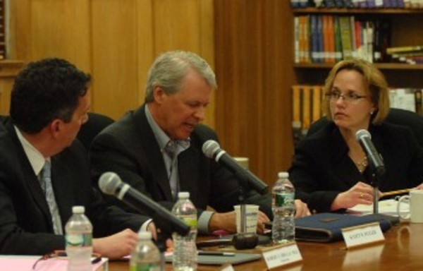 Barrington School Committee members discuss an issue at a recent meeting.