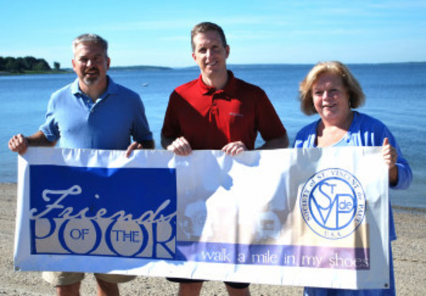 Barrington residents Steve Turgeon, Mark Searles and Mary Sue Tavares (from left to right) will play key roles in the St. Vincent de Paul Friends of the Poor Walk/Run fund-raiser.