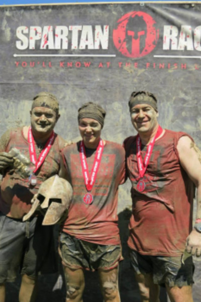 Three leaders of the Pack 2 West Barrington Cub Scouts — Terrence Boylan, Christy Isles and Dan Birch (from left to right) — competed in a Spartan Race in Amesbury, Mass. on Saturday, Aug. 10.