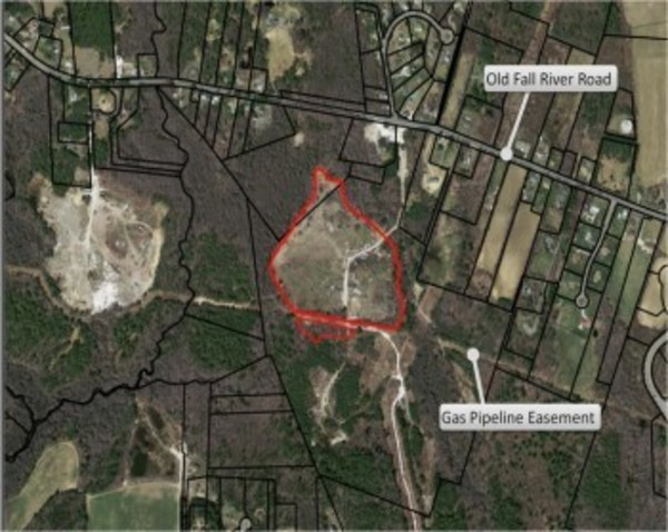 Red outline shows location of the former Cecil Smith Landfill just northeast of the Westport town line.