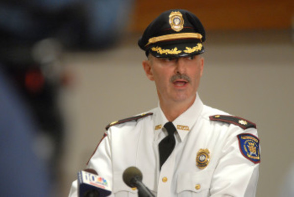 Jeffrey Furtado, seen here at a press conference last month, has been serving as interim police chief in Portsmouth since the retirement of Lance Hebert last December.