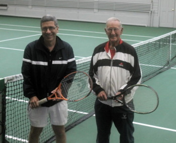 "Owner Tom Brun (left) and teacher Ed Anelundi announced the formal opening of the 2013-14 tennis season at ""The Indoor Court."""