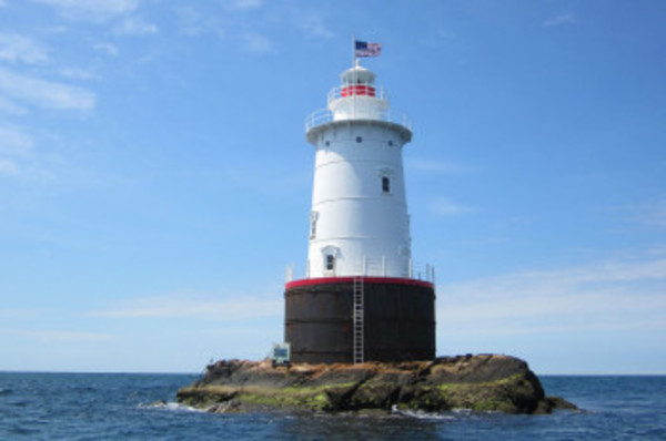 The recently refurbished Sakonnet Light off Little Compton.