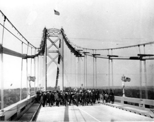 Native Americans and people dressed up as historical figures from the past took part in the festivities when the Mt. Hope Bridge opened on Oct. 24, 1929.