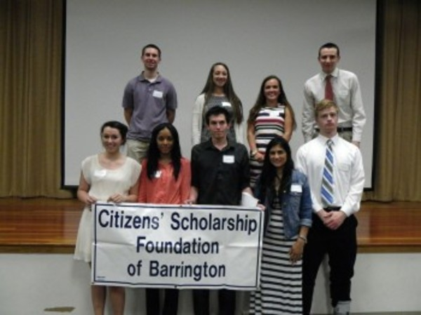 The group of Citizens' Scholarship Foundation of Barrington award winners pose for a photo.
