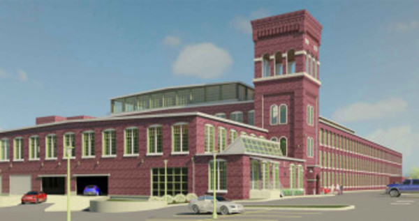 A rendering of what the main mill at the American Tourister site could look like after redevelopment.