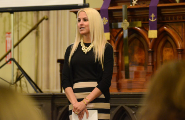 Sandy Hook Elementary School teacher Kaitlin Roig-DeBellis delivers her message of hope and empowerment during an event at the First Congregational Church in Bristol Friday evening.