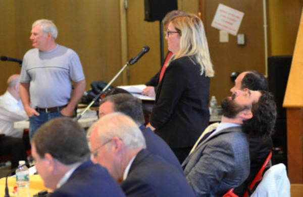 Warren Town Council member Cathie Tattrie stands during a vote to reduce the Warren Tax Assessor's salary by 50 percent, while fellow council members keep their seats.