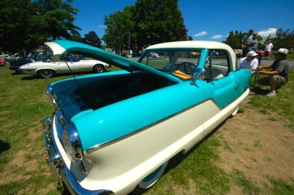 "A 1960 Nash Metropolitan, a subcompact car once advertised as ""Luxury in Miniature,"" was one of the hundreds of vehicles featured in the 58th annual Newport Motor Car Festival at Portsmouth Abbey Sunday. Photo by Jim McGaw."