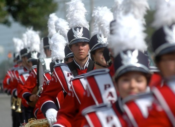 Max McGaw marches with the PHS band in the Portsmouth 375th anniversary parade on Aug. 31, 2013.