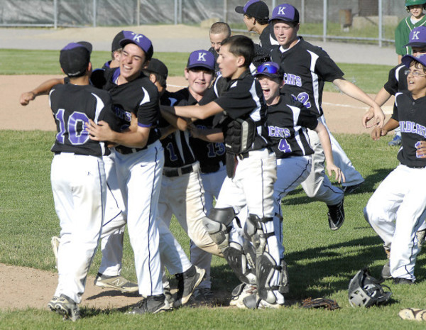 Photos by Rich DionneThe Wildcats erupt into a frenzy after defeating Ponaganset, 4-1, for their second state championship in as many years, on Monday afternoon at McCarthy Field in West Warwick.