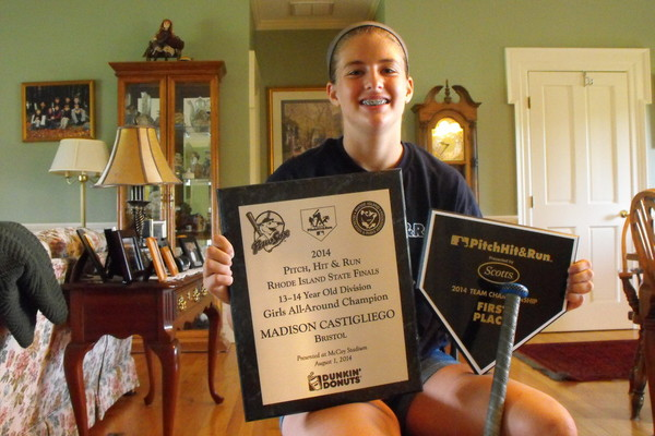 Bristol's Madison Castigliego won the statewide Pitch, Hit and Run competition, earning the right to compete on the field at Fenway Park.