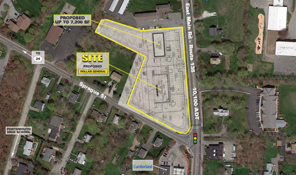 Aerial photo shows planned location of Dollar General store at the corner of East Main Road and Sprague Street.