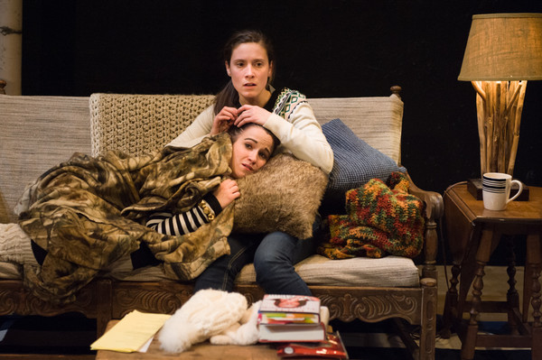 "Betsy Rinaldi as Laurel (reclined) and Amanda Ruggiero as Hannah Marshall star in ""Grizzly Mama,"" at the Gamm Theatre through February 7. Credit: Peter Goldberg."