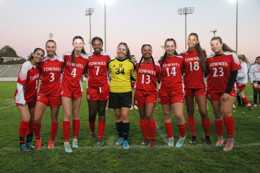 The EPHS girls' soccer team seniors honored before their final scheduled home game of 2019 included (from left to right) Ashley Cassino-Henriquez, Alyssa DeOliviera, Savannah Feola, Luana Rodrigues, Mia Jackson, Isabella Monteiro, Taylor Donnelly, Aaliyah Pattie and Simone Driscoll-Nicholaus.
