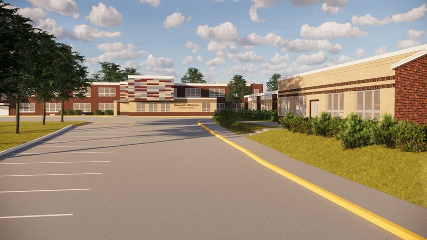 Conceptual drawing of improvements to Hathaway School shows a new main entrance with an added classroom above.