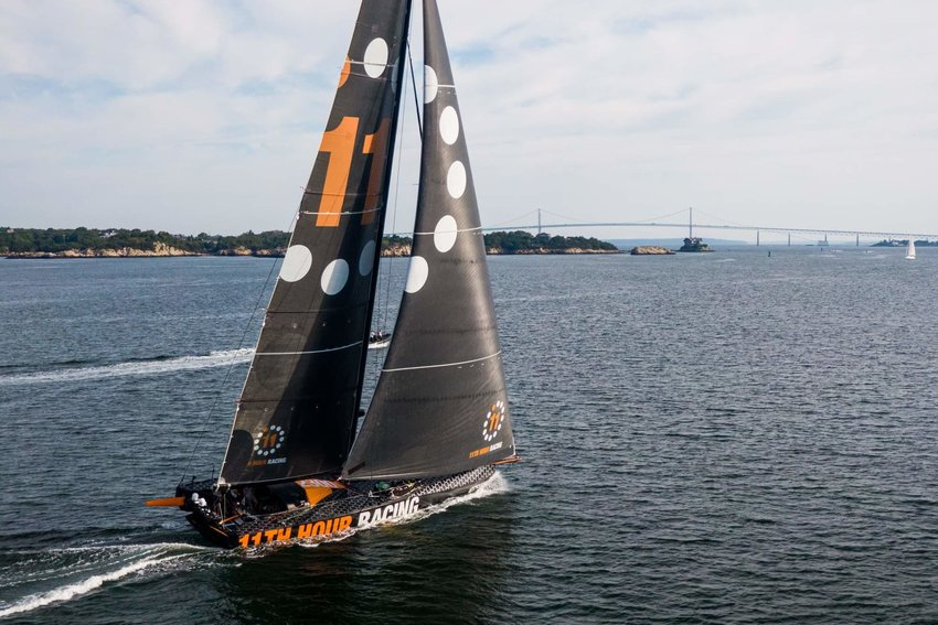 The 11th Hour team and their IMOCA 60 enters Newport in mid-August following a strenuous transatlantic crossing. Credit: Amory Ross/11th Hour Racing
