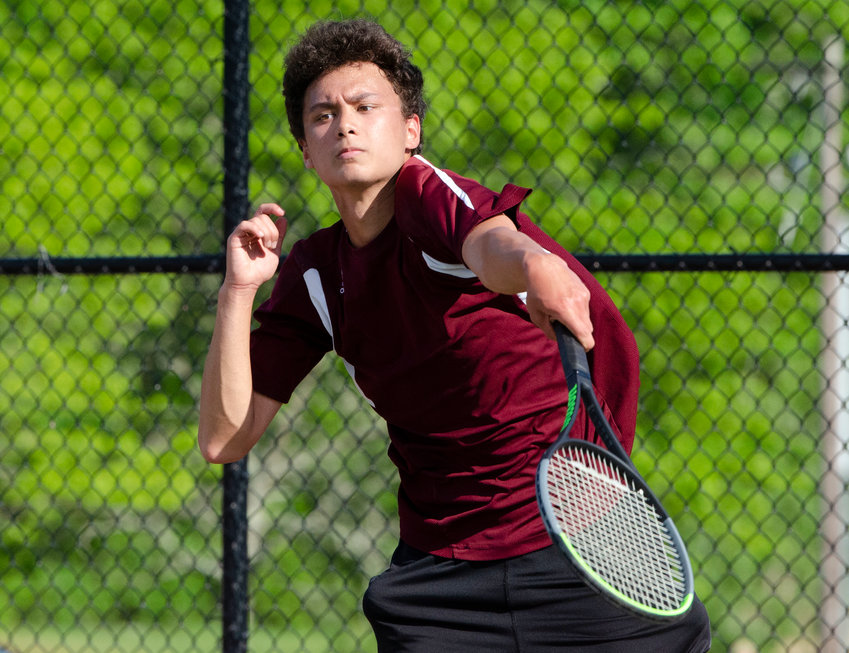 Fourth singles player Aaron DeGala beat Falcons' Jarred Angel, 6-1, 6-0, during their match on Monday night.