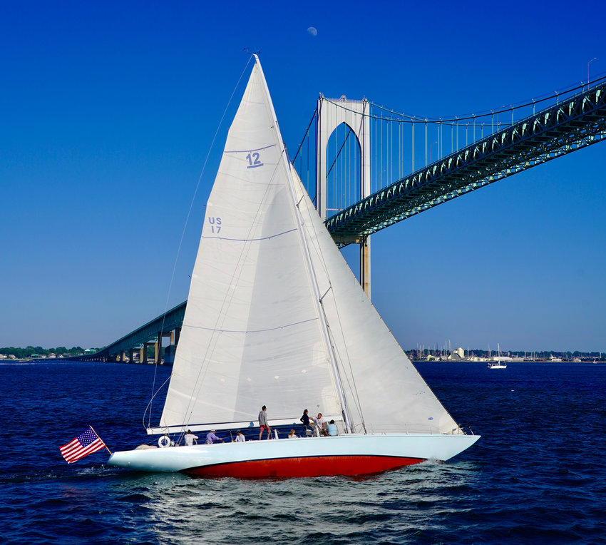"""1962 America's Cup winner Weatherly, owned by Steve Eddleston of Bristol, is pictured racing in Sunday's 12-meter """"Chalice Challenge"""" series, held off Rose Island in Newport Harbor."""