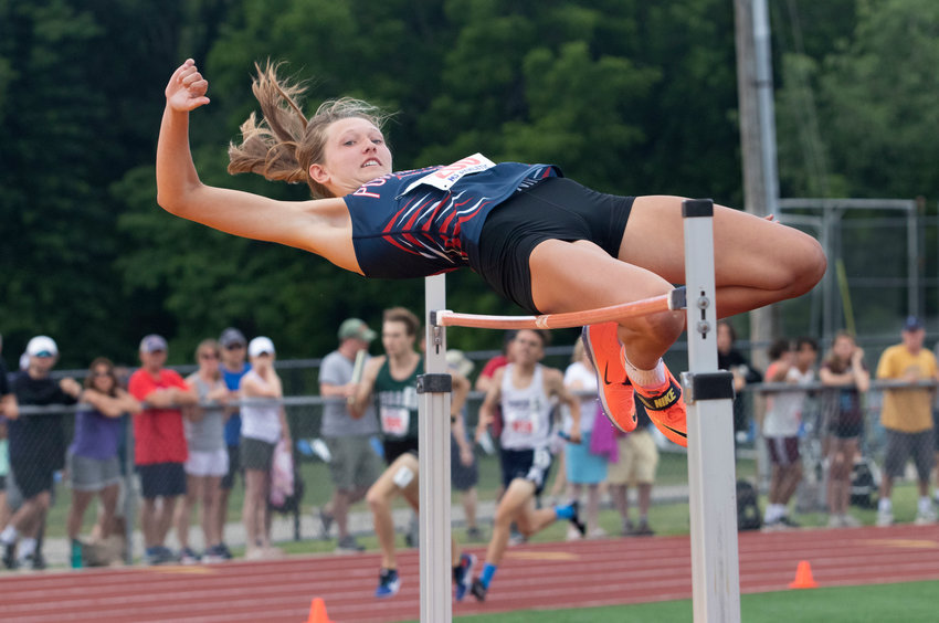 Portsmouth High School's Morgan Casey broke a 28-year-old school record in the high jump when she cleared 5 feet, 6.25 inches at the state championship meet on Saturday.