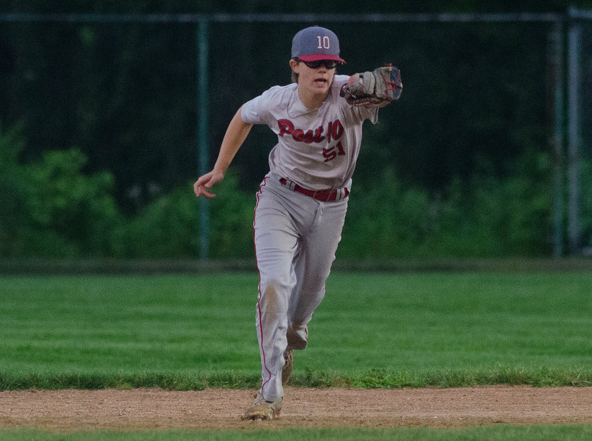 Brian Rutkowski, making a play in the team's final regular season game last week, was the offensive standout for the Post 10 Juniors in their playoff opening win August 2.