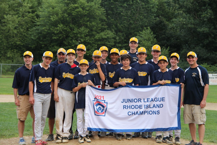 Members of the Barrington Little League Junior Division All-Star team pose for a photo after winning the state championship on Sunday. Barrington defeated South Kingstown, 5-1, in the finals.