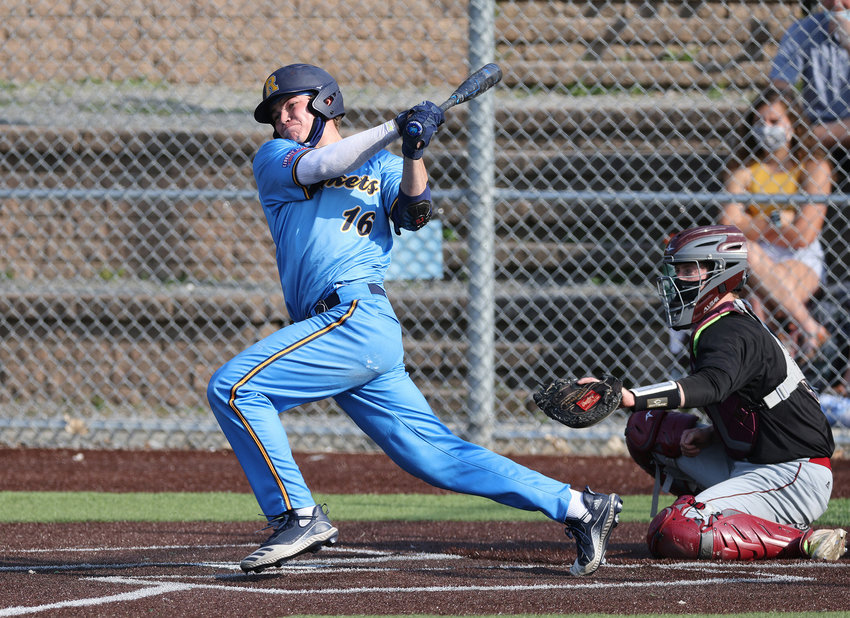 Barrington High School graduate Josh Leadem rips a hit for the University of Rochester baseball team last spring. Leadem was named Second Team All-Liberty League.