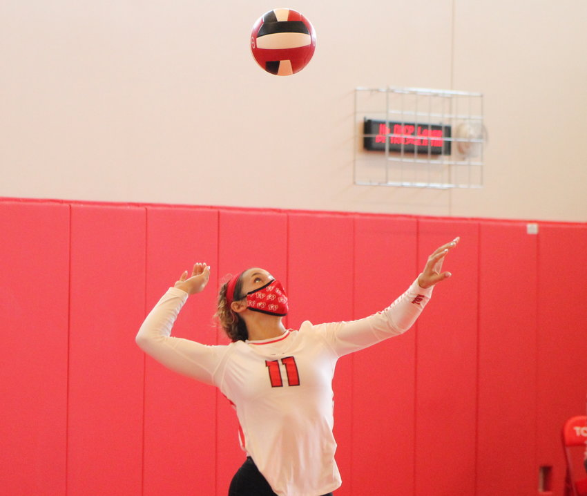 Sophia Patterson serves for the EPHS girls' volleyball team during the Townies' Injury Fund outing Saturday, Sept. 11.