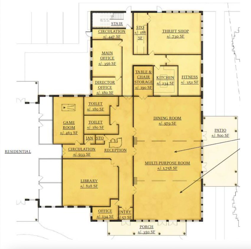 This is Church Community Housing's proposed floor layout of the senior amenities section of the senior housing complex that the nonprofit wants to build on Bristol Ferry Road. The light yellow section would be owned by the town and leased to the Portsmouth Senior Center, which would manage programming of the entire space (both light and darker yellow areas) through a long-term service agreement.