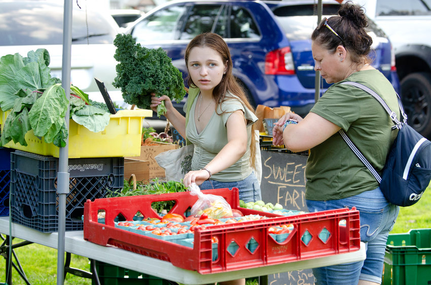 Jackie Liolios and daughter, Adreana, 14, check out corn at  Martinelli's Farm and Charcuterie stand and vegetables at Sweetfern Farm stand.