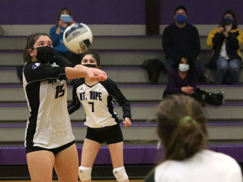 Junior Sammy Malafronte tallied 5 aces, 3 kills, 8 assists, 4 digs and 19 service points during the team's match at North Smithfield. In photo, Malafronte hits a volley, during a Fall II match, last season.