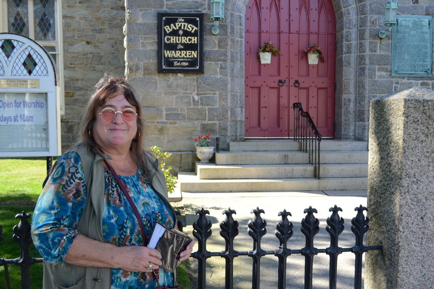 Joan Quinn has given haunted tours of Bristol for the past four years, and this year has expanded her reach to include a walk through downtown Warren, including such historic landmarks as the First Baptist Church, pictured here.