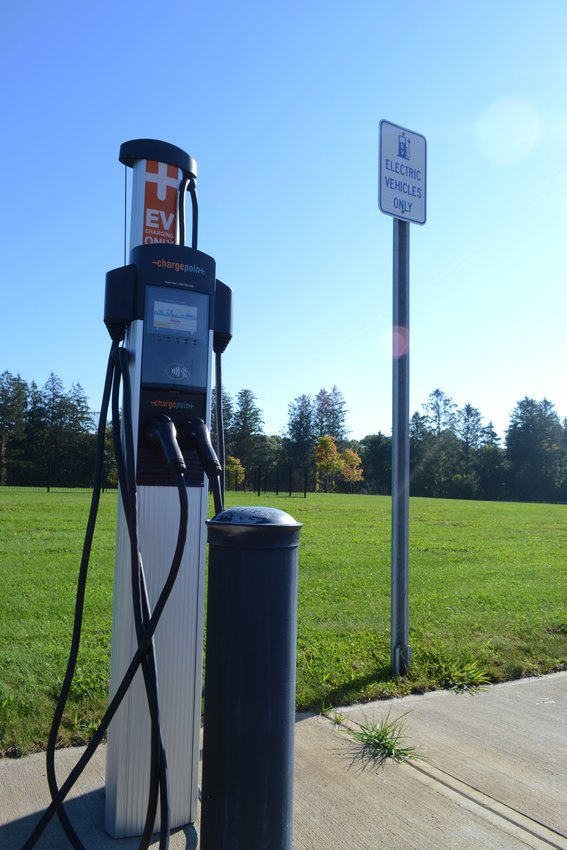 Two electric car spaces are available in the Charlie lot of the Bristol Veterans Home on Metacom Avenue (above). More will be added to the Stop and Shop parking lot if a private company is given final approval.