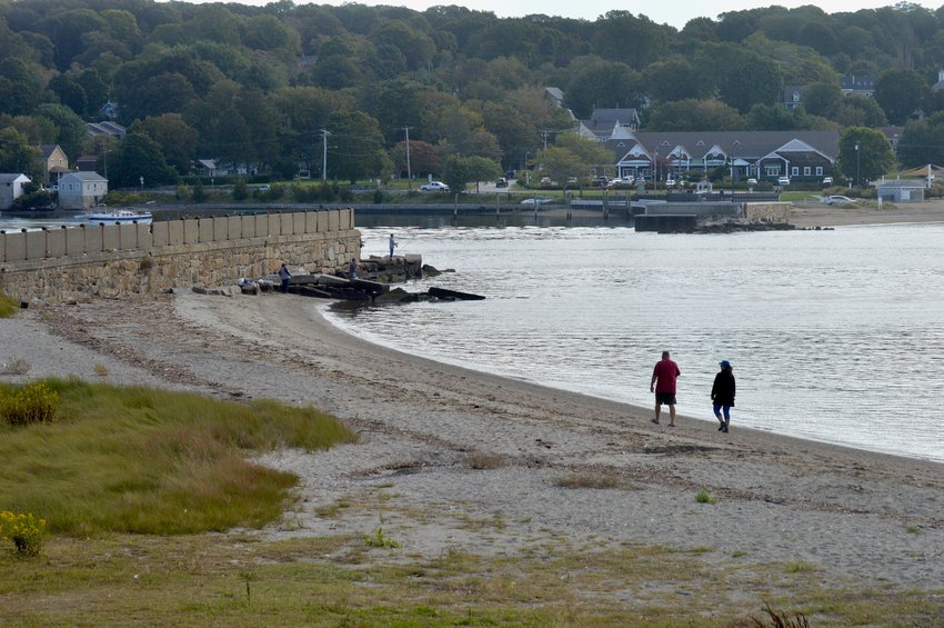 The town is seeking funding for improvements to the Stone Bridge abutment and adjacent Teddy's Beach. Tiverton's improved bridge abutment and waterfront park can be seen in the background.