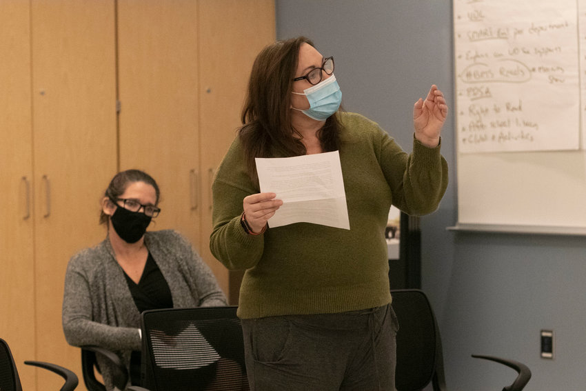 Barrington resident Rachelle Zani pleads with members of the school committee about problems with the school transportation system in town during the meeting last Thursday night.