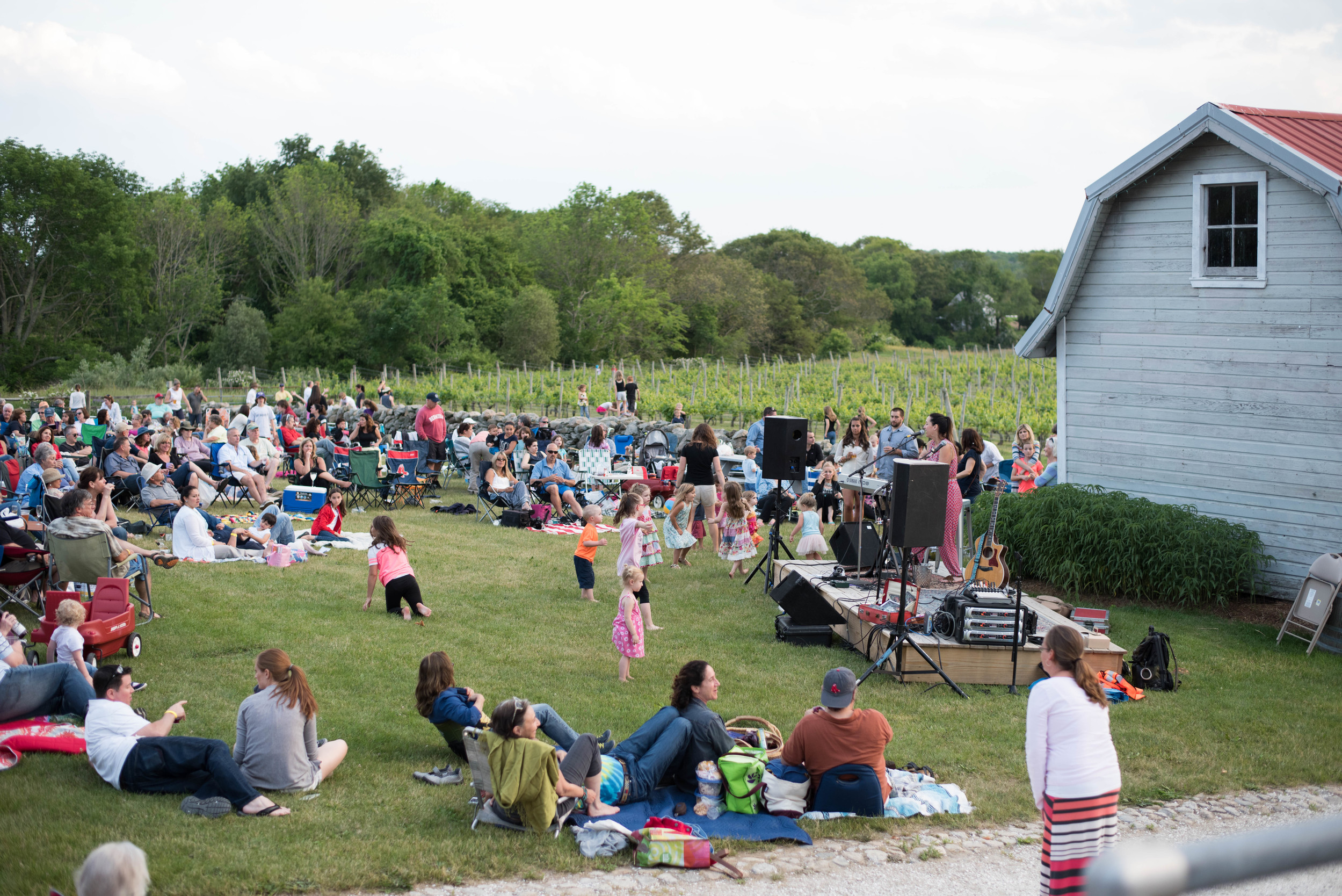 Spectators spread out across the lawn during a Sunset Music Series performance last June.